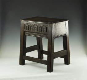 Antique Carved Box Stool