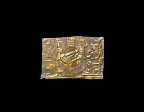 Egyptian Gold Panel With Maat Before Isis
