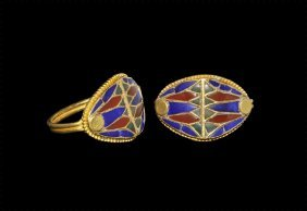 Egyptian Gold Ring With Inlays
