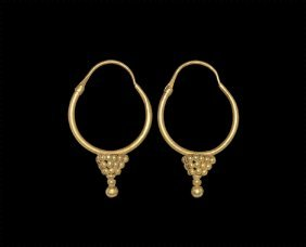 Egyptian Large Gold Hoop Earrings