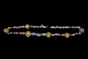 Islamic Gold And Millefiori Bead Necklace