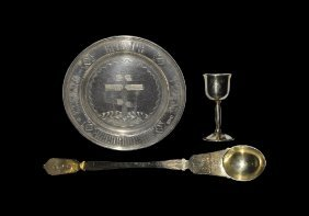 Post Medieval Russian Paten, Host Spoon And Chalice