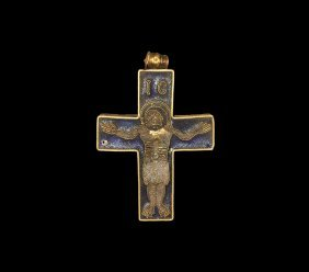 Medieval Gold And Enamel Pectoral Cross Pendant