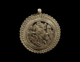 Post Medieval Gilt St. George And Dragon Pendant