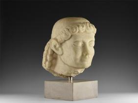 Eastern Greek Youthful Head Of A Kouros