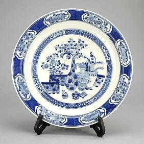 CHINESE LARGE BLUE AND WHITE CHARGER ON WOOD STAND