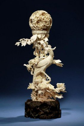 FINE CHINESE CARVED IVORY PUZZLE BALL WITH PHOENIX