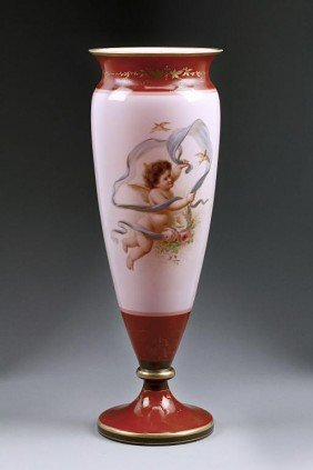 ANTIQUE HAND-PAINTED AND GILDED PINK OPALINE VASE
