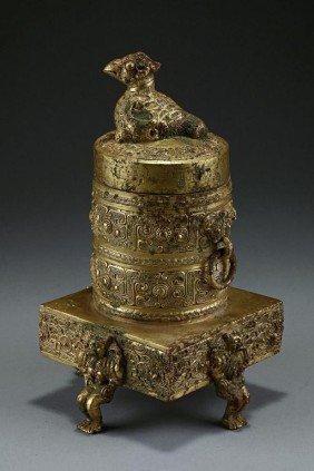 ANTIQUE TIBETAN GILT-BRONZE JAR AND COVER