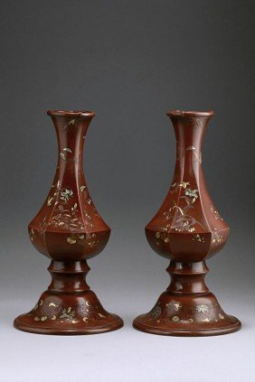PAIR OF JAPANESE BRONZE INLAID BOTTLE-NECK VASES