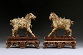 PAIR OF CHINESE BEJEWELED IVORY FIGURES OF HORSES