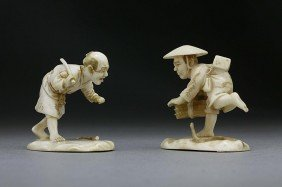TWO JAPANESE CARVED IVORY FIGURES OF FARMERS
