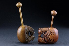 TWO CARVED FRUIT WOOD MUYU (WOODEN FISH)