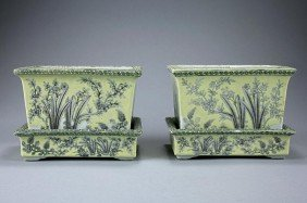 PAIR OF ANTIQUE CHINESE YELLOW GROUND JARDINIERES