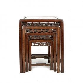 ANTIQUE CHINESE CARVED WOOD NEST OF TABLES