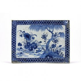 ANTIQUE CHINESE BLUE AND WHITE PORCELAIN PLAQUE
