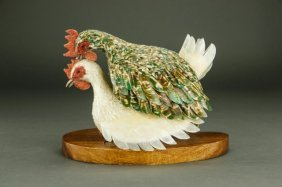 Two Chickens With Feathers Made Of Cut Seashells