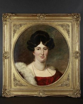 English Oil Painting On Canvas Of A Lady