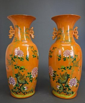 Pair Of Chinese Famille Rose Orange-ground Vases