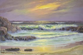 Oil Painting On Canvas Of A Beach At Sunset