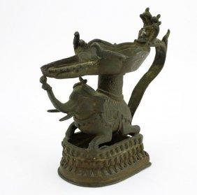 Antique Tibetan Bronze Elephant Candle Holder