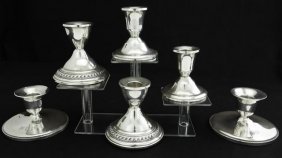 Collection Of Six Sterling Silver Candle Holders