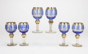 Six Small Bohemian Blue Overlay Glass Goblets