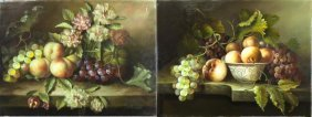 Pair Of Oil On Canvas Still Life Paintings
