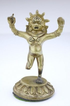 Small Tibetan Gilt-bronze Figure Of A Goddess