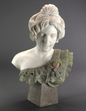 Carved Marble Bust Of A Beauty
