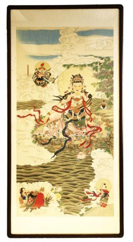 Large Framed Chinese Painting Of Guanyin
