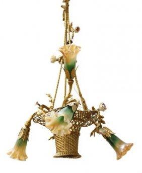Antique French Four Light Bronze Chandelier