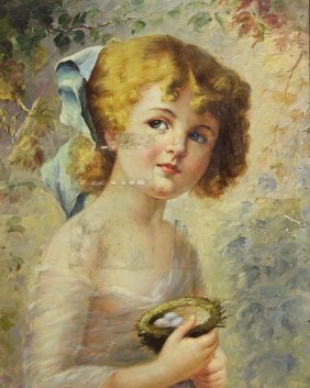 Small Oil On Board Painting Of A Young Girl