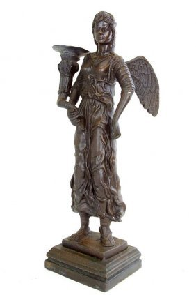 Bronze Candle Holder Of An Angel