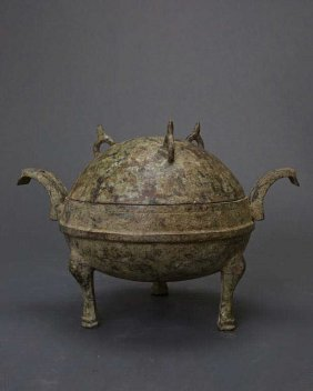 Antique Chinese Bronze Lidded Tripod Vessel