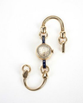 Gold And Sapphire Lady's Watch