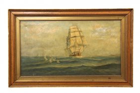 Oil On Canvas Painting Of Sailing Ship