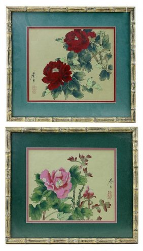 Pair Of Framed Chinese Paintings Of Flowers