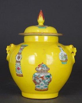Small Chinese Famille Jaune Lidded Jar