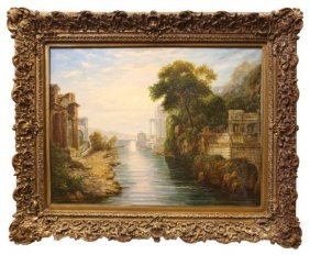 Oil On Canvas Painting Of Ruins With River