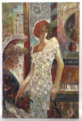 Oil On Canvas Painting Of A Woman And Piano