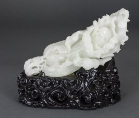 Chinese Carved White Jade Cabbage