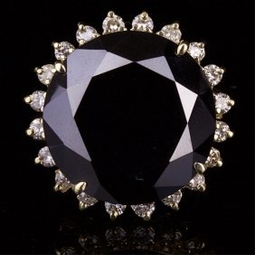 14k Gold Ring With White And Black Diamonds