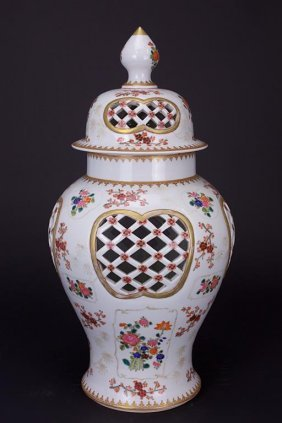 Chinese Export Famille Rose Lidded Temple Jar