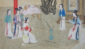 Chinese Painting Of Beauties On Silk