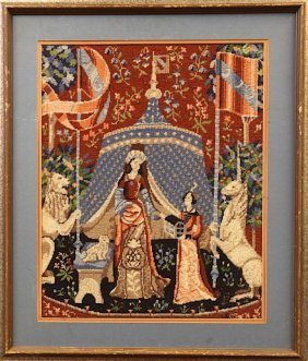 Framed Needlepoint With A Palace Scene