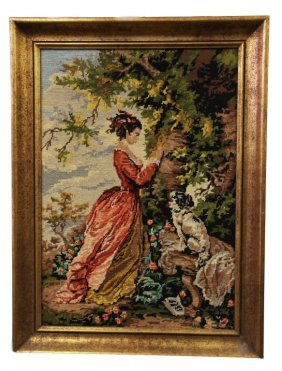 Framed Needlepoint Stitchwork With A Girl And A Dog
