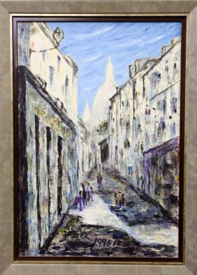 """Oil On Canvas Painting Of """"impression Of France"""""""