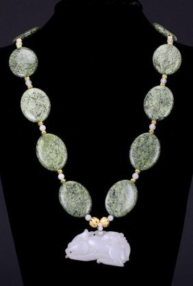 Stone Necklace With Jade Pendant