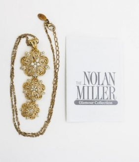 Golden Three Flower Necklace By Nolan Miller